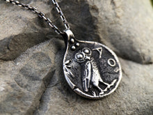 Load image into Gallery viewer, Athens Owl Coin Pendant, Greek Tetradrachm Necklace, Ancient Roman Mythology Medallion