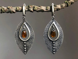Dravite Tourmaline Silver Earrings