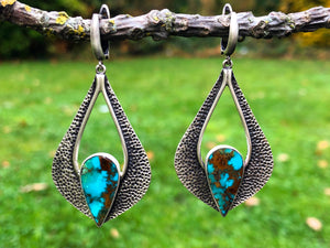 Teardrop Turquoise Silver Earrings