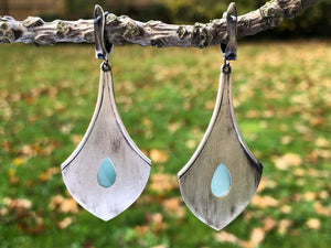 Aquamarine Blackened Silver Earrings