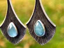 Load image into Gallery viewer, Aquamarine Blackened Silver Earrings