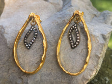 Load image into Gallery viewer, Unique Pear Shape Gold Diamond Earrings