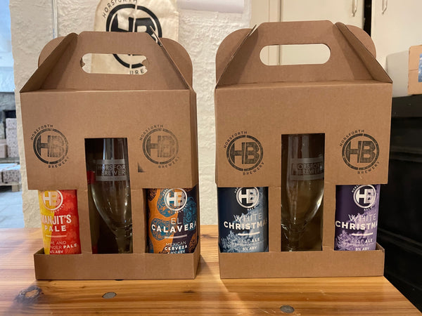 Horsforth Brewery Branded Gift Box and Road Sign Branded Glass