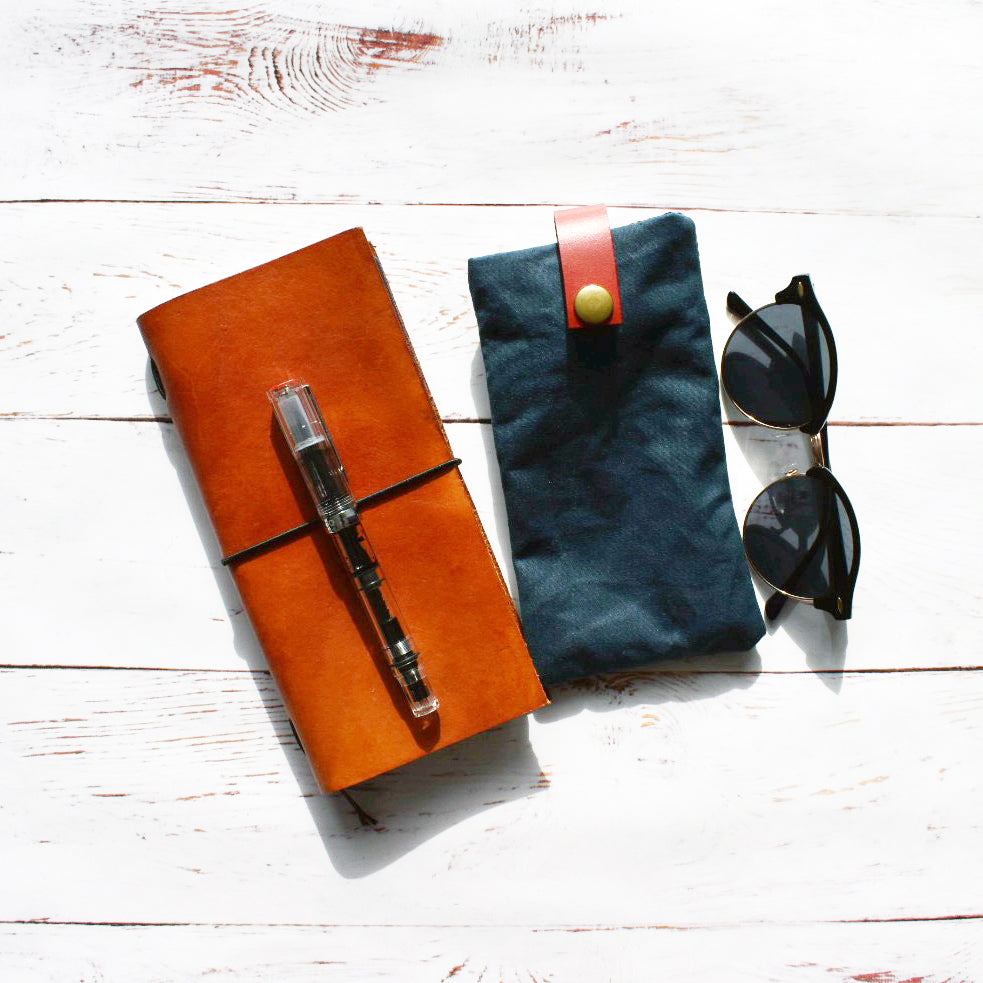 Waxed Canvas & Leather Glasses Case