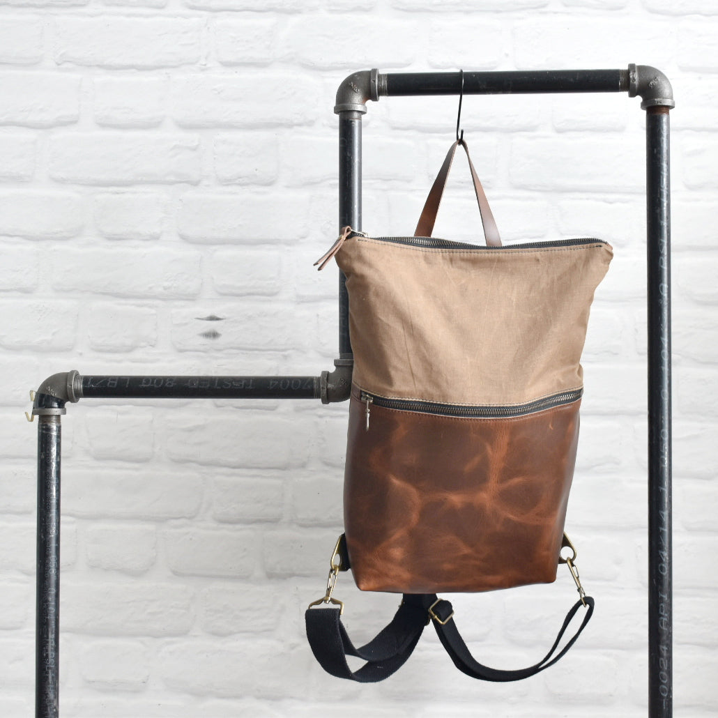 MUNC Waxed Canvas and Leather Backpack