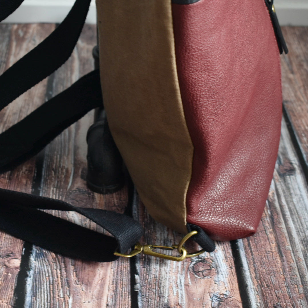 Miki Waxed Canvas & Veg Tan Leather Dual Purpose Bag