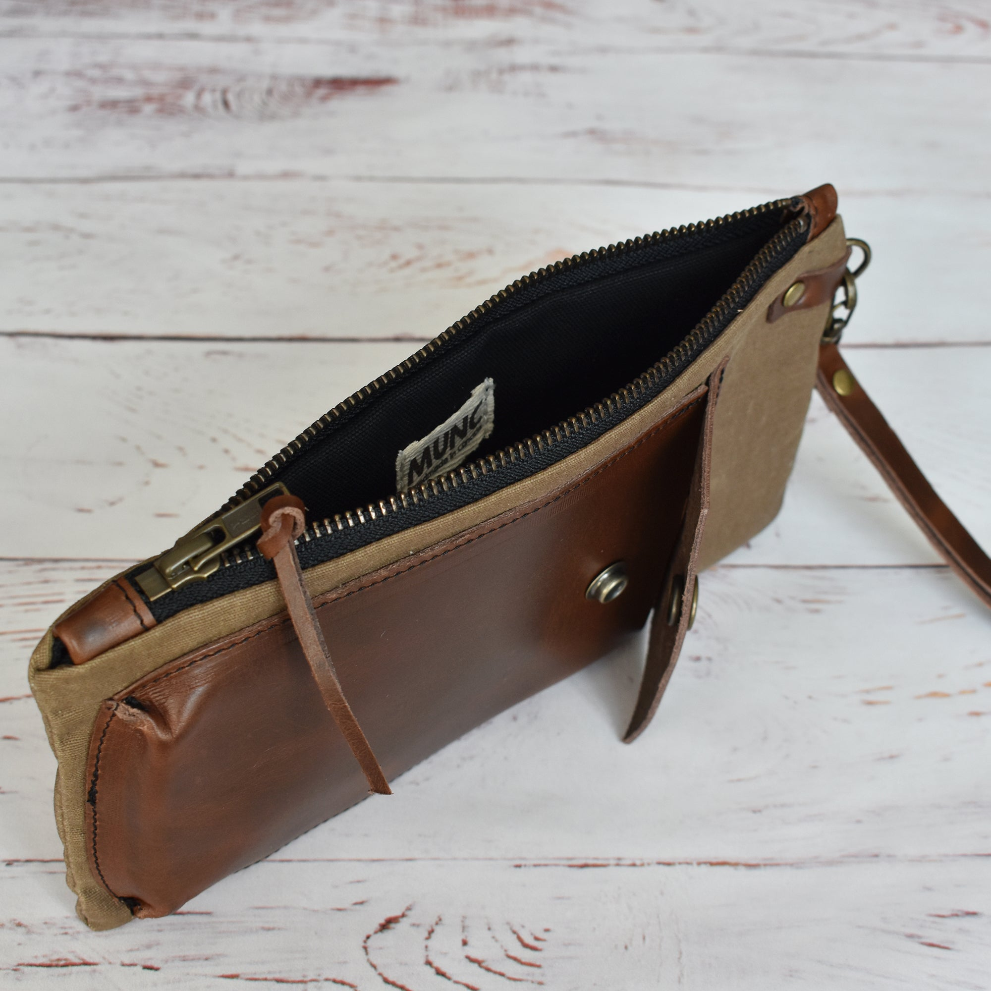 MUNC waxed canvas and veg tan leather pouch