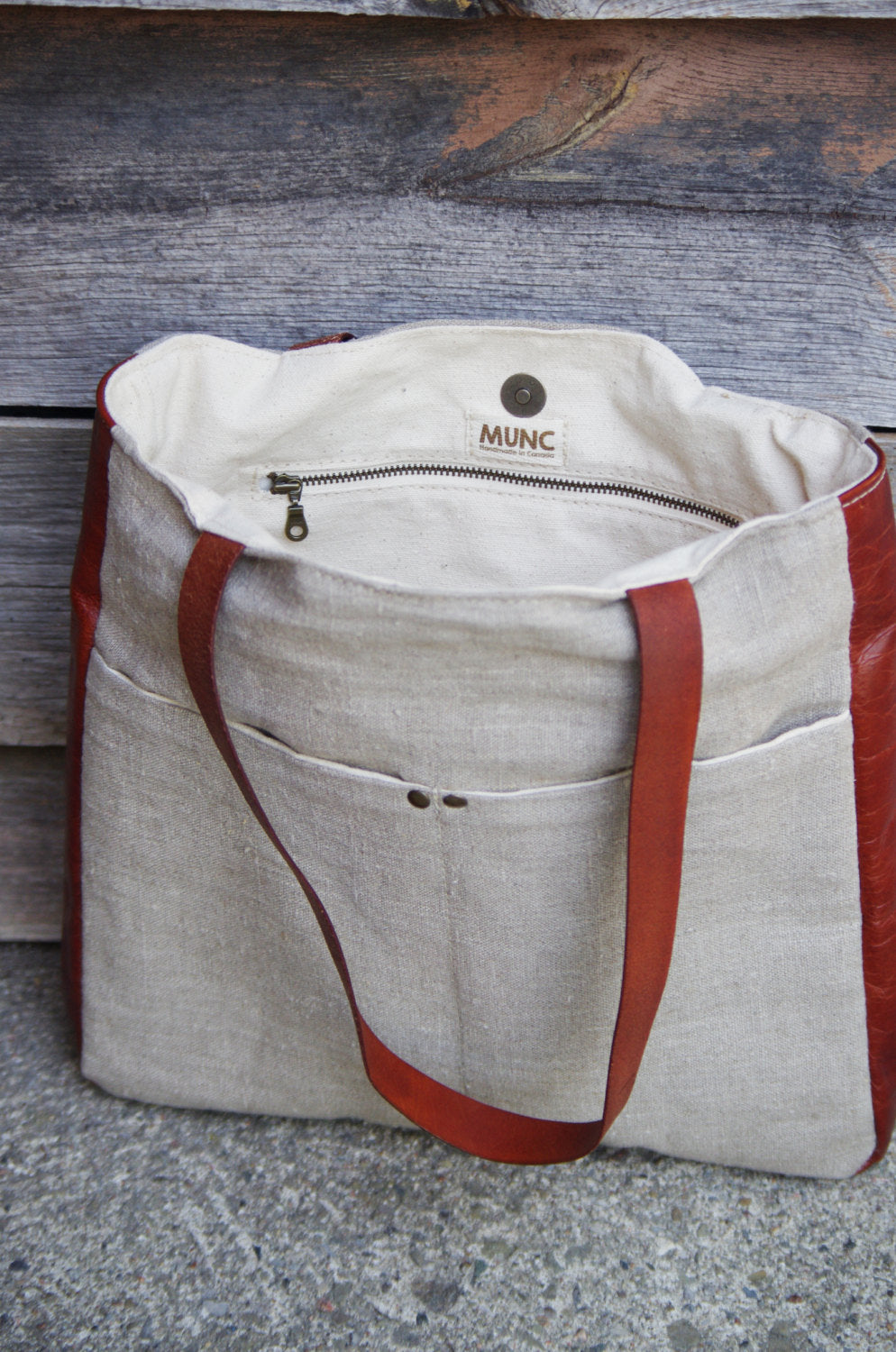 Stonewashed Line & Veg Tan Leather Tote