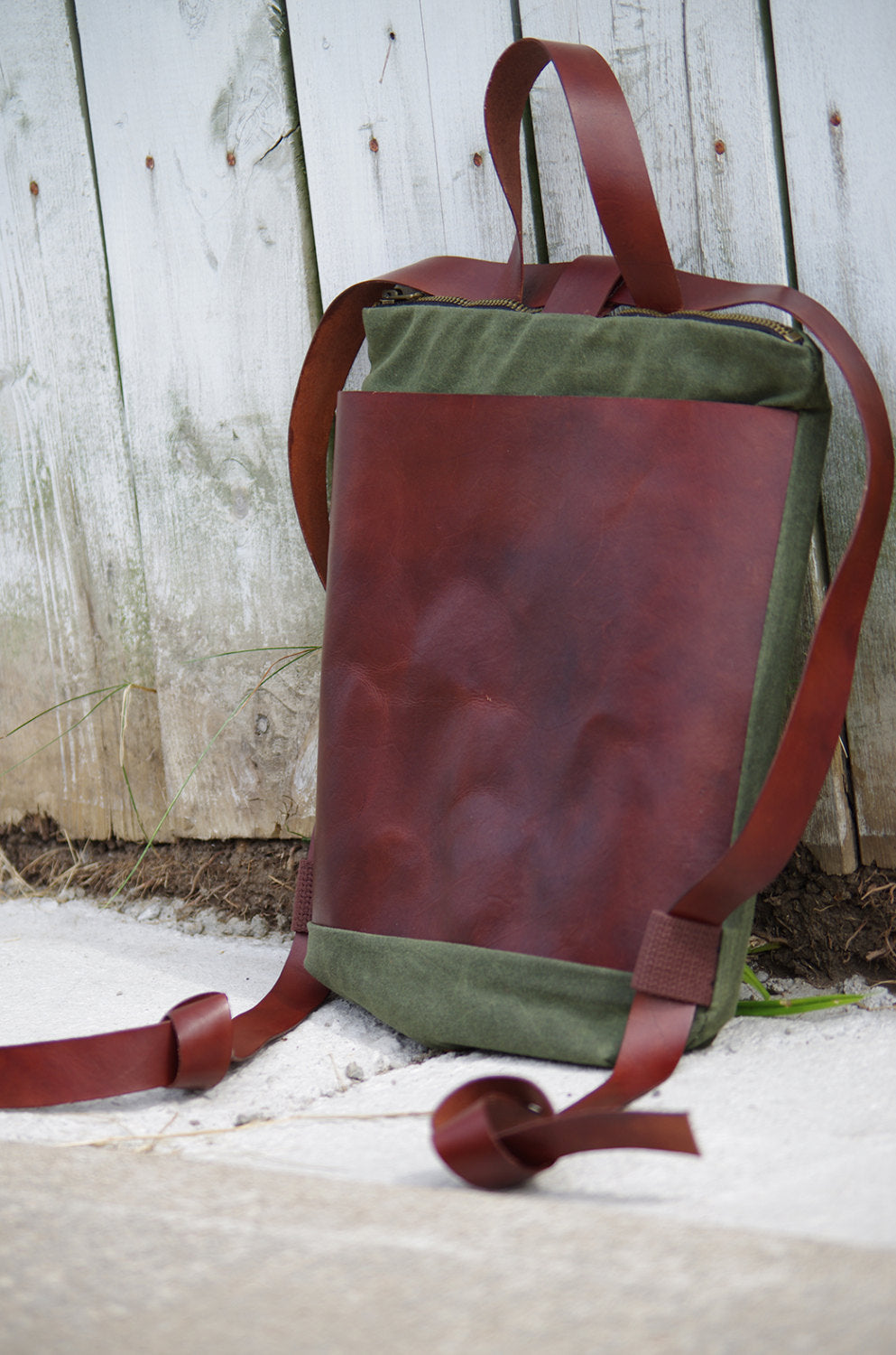 Mona Waxed Canvas & Leather Backpack