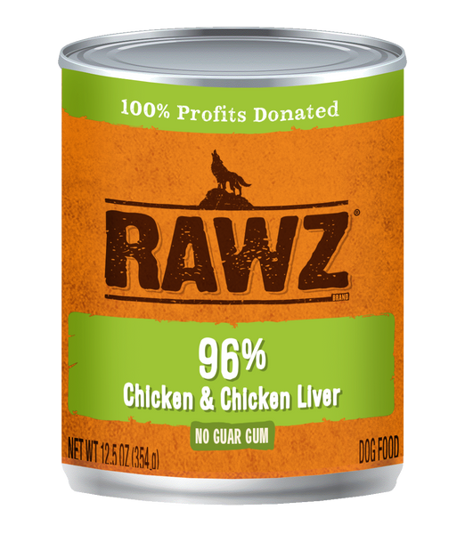 RAWZ 96% CHICK/LIVER DOG CAN 354G