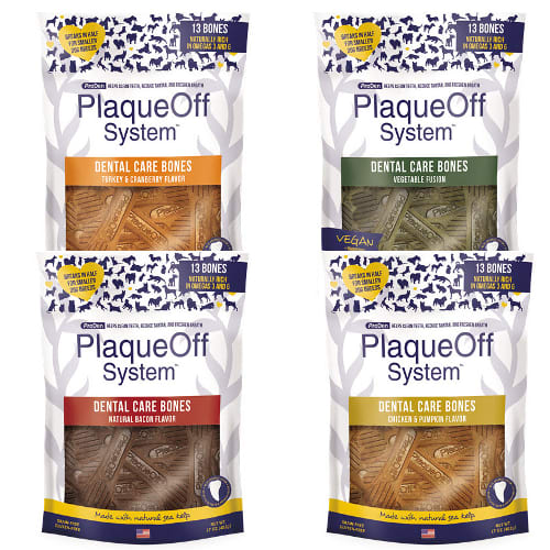 PLAQUEOFF DENTAL BONES MINI VEG/BLU 17OZ