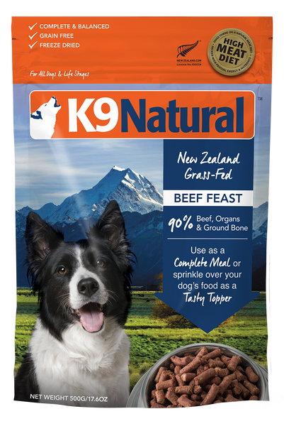 K9 NATURAL BEEF FREEZE DRIED 500G