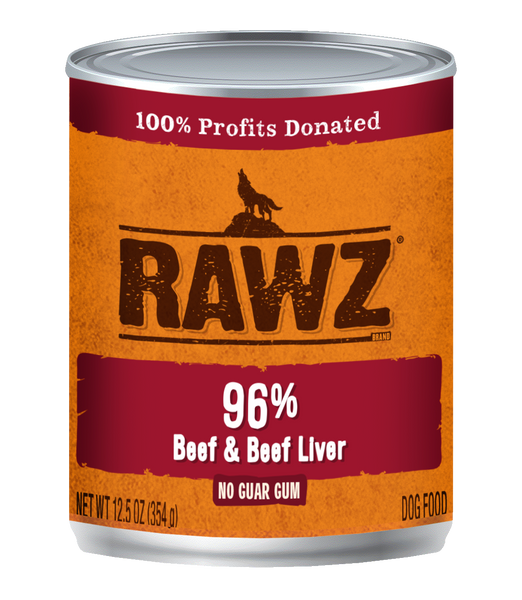 RAWZ 96% BEEF/LIVER DOG CAN 354G
