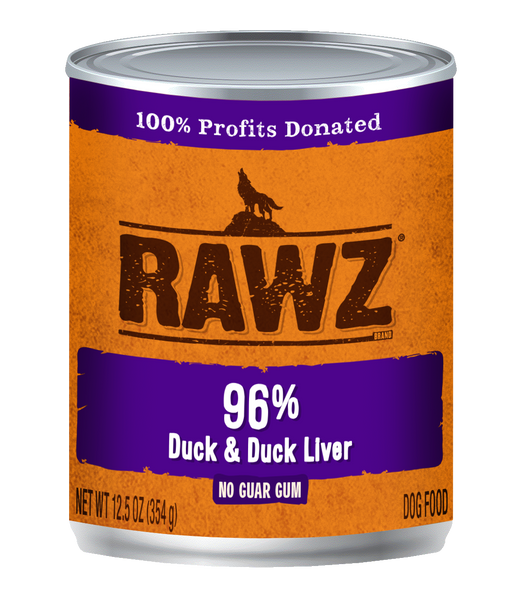 RAWZ 96% DUCK/LIVER DOG CAN 354G
