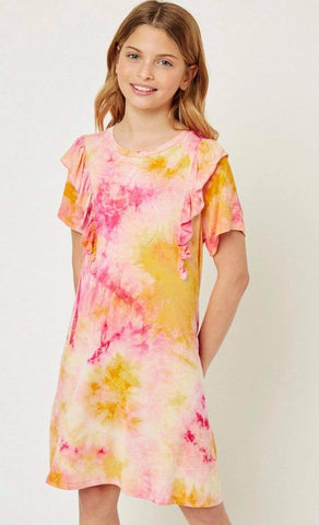 Tie Dye Ruffle Shirt Dress