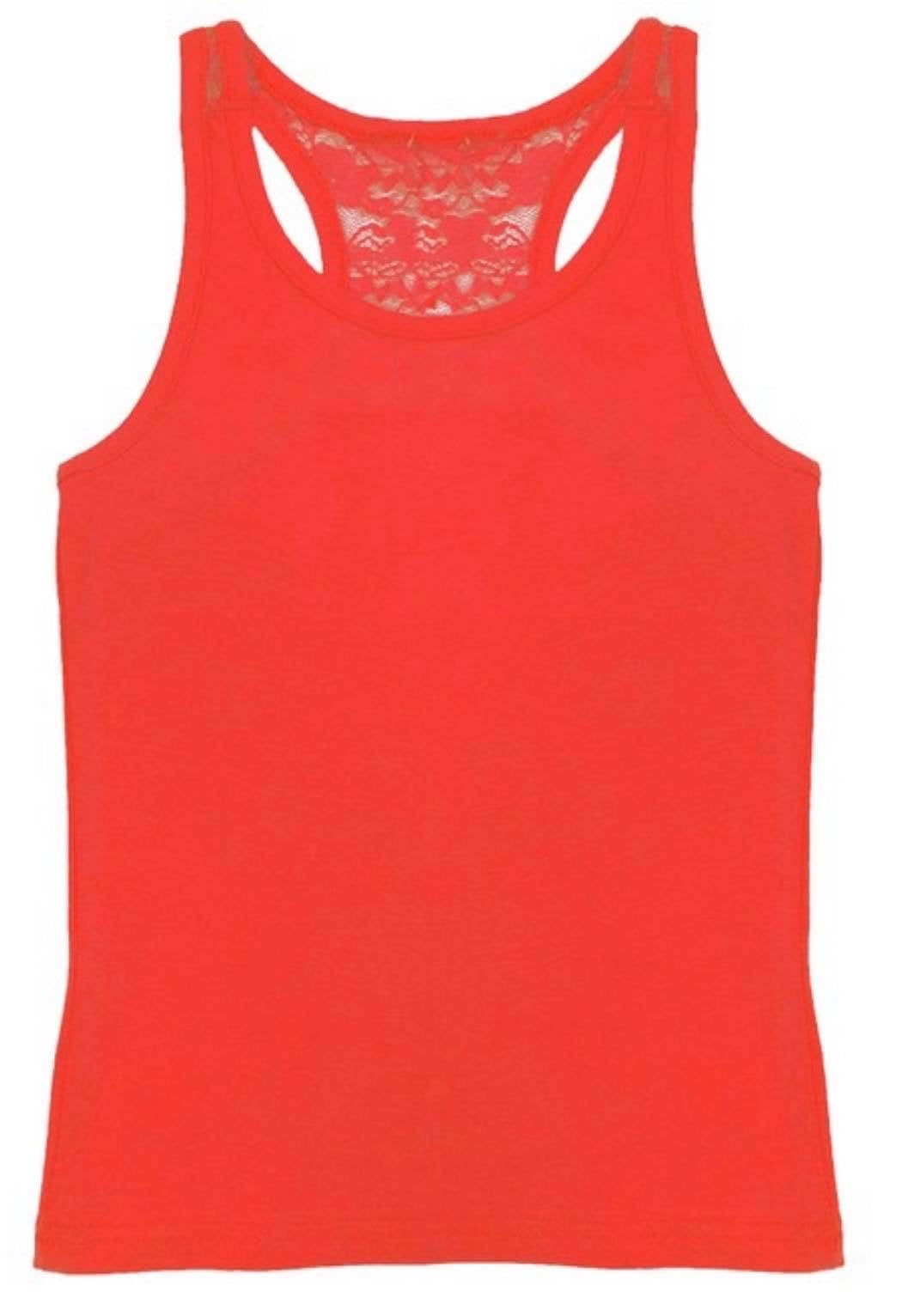 Girls solid racerback tank with cut out lace