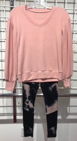 Tween Oversized Pink Top with Matrix Legging