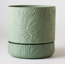 Load image into Gallery viewer, Folia Relief Plant Pot Olive Green