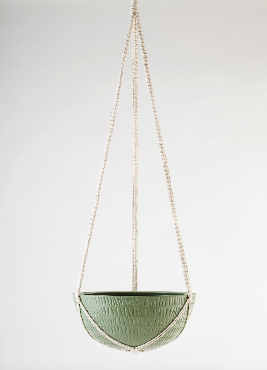 Macrame Hanging Planter Large Olive Green