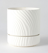 Load image into Gallery viewer, Abstract Relief Plant Pot - Brush Line Thin White