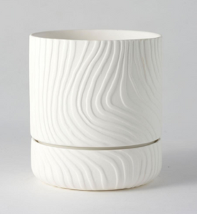 Abstract Relief Plant Pot - Brush Line Thin White