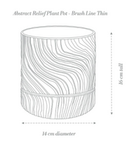Load image into Gallery viewer, Abstract Relief Plant Pot - Brush Line Thin Olive Green