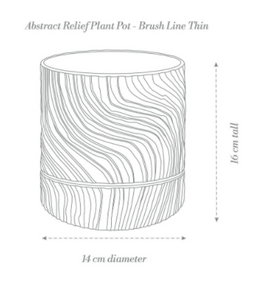 Abstract Relief Plant Pot - Brush Line Thin Ochre