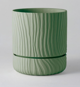 Abstract Relief Plant Pot - Brush Line Thin Olive Green