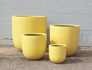 The Lizzie Lightweight Fibrestone Pot - Canola Yellow