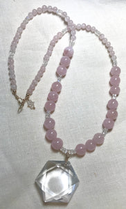 Divine Love Necklace ((Alchemy Collection)) ~ morganite & rainbow moonstone