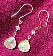 Load image into Gallery viewer, Angel Tones Crystal Earrings ((solid gold))