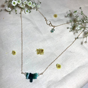 High Heart Necklace ~ Tourmaline & Herkimer Diamonds ((solid gold))