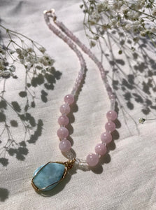 Mermaids of Mu ~ Larimar + Moonstone + Morganite ~ Necklace