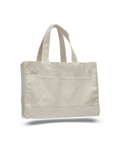 Monogrammed Canvas Pocket Tote