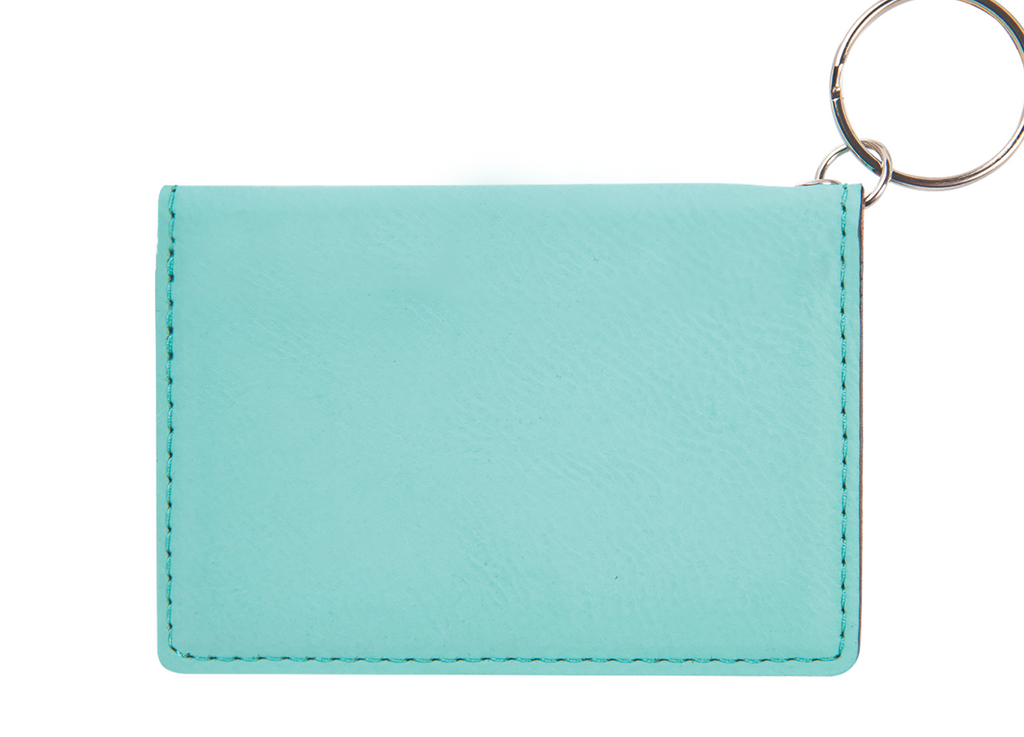 Teal + Black Laser Engraved Keychain ID Holder Wallet