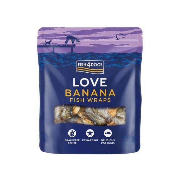 Fish4Dogs Love Banana Fish Wraps 100g-Oh Doggy