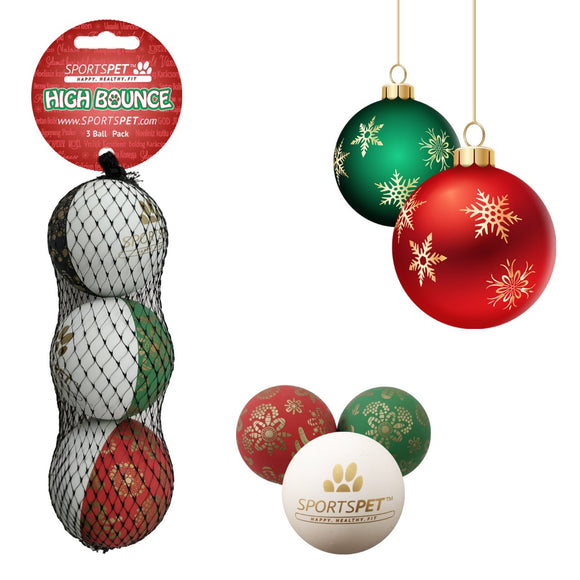 SportsPet High Bounce Gold Christmas Bauble 3 Pack-Oh Doggy