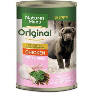 Natures Menu Junior Chicken and Turkey Dog Food Can 400g-Oh Doggy