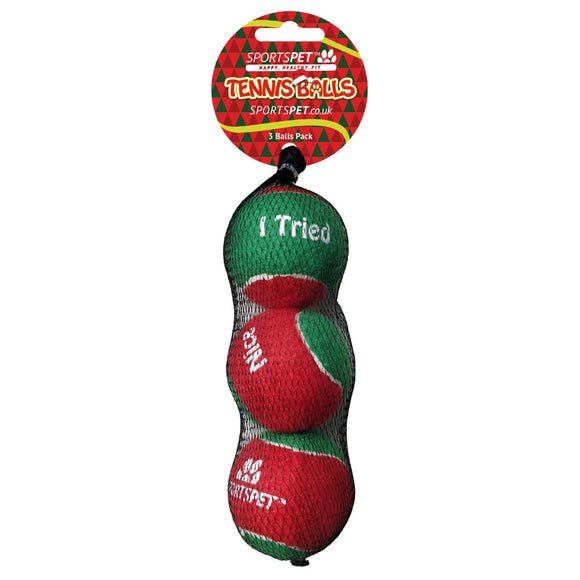 SportsPet Christmas Tennis Ball 3 Pack-Oh Doggy