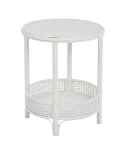 Suva White Rattan Side Table