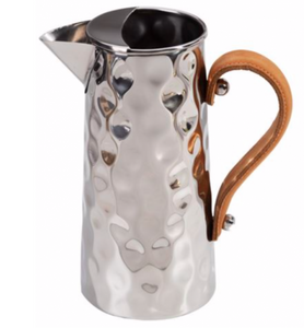 Hammered Jug with Leather Handle