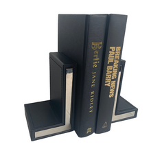 Load image into Gallery viewer, Black Leather & Chrome Bookends