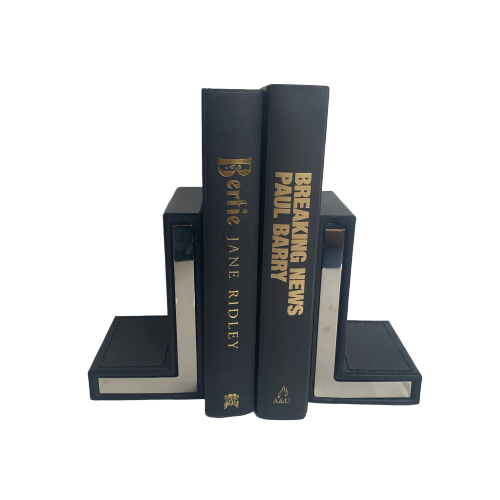 Black Leather & Chrome Bookends