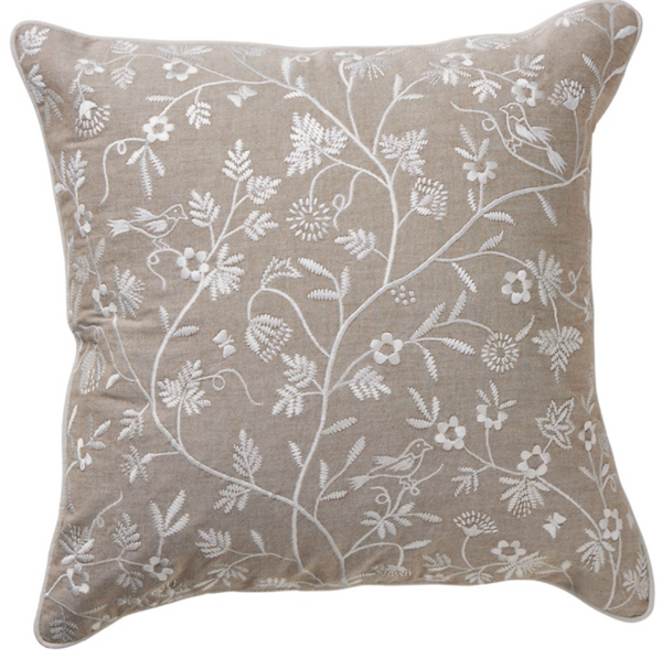 Embroidered Floral Cushion