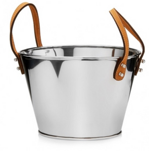 Stainless Steel Oval Tub with Leather Handle