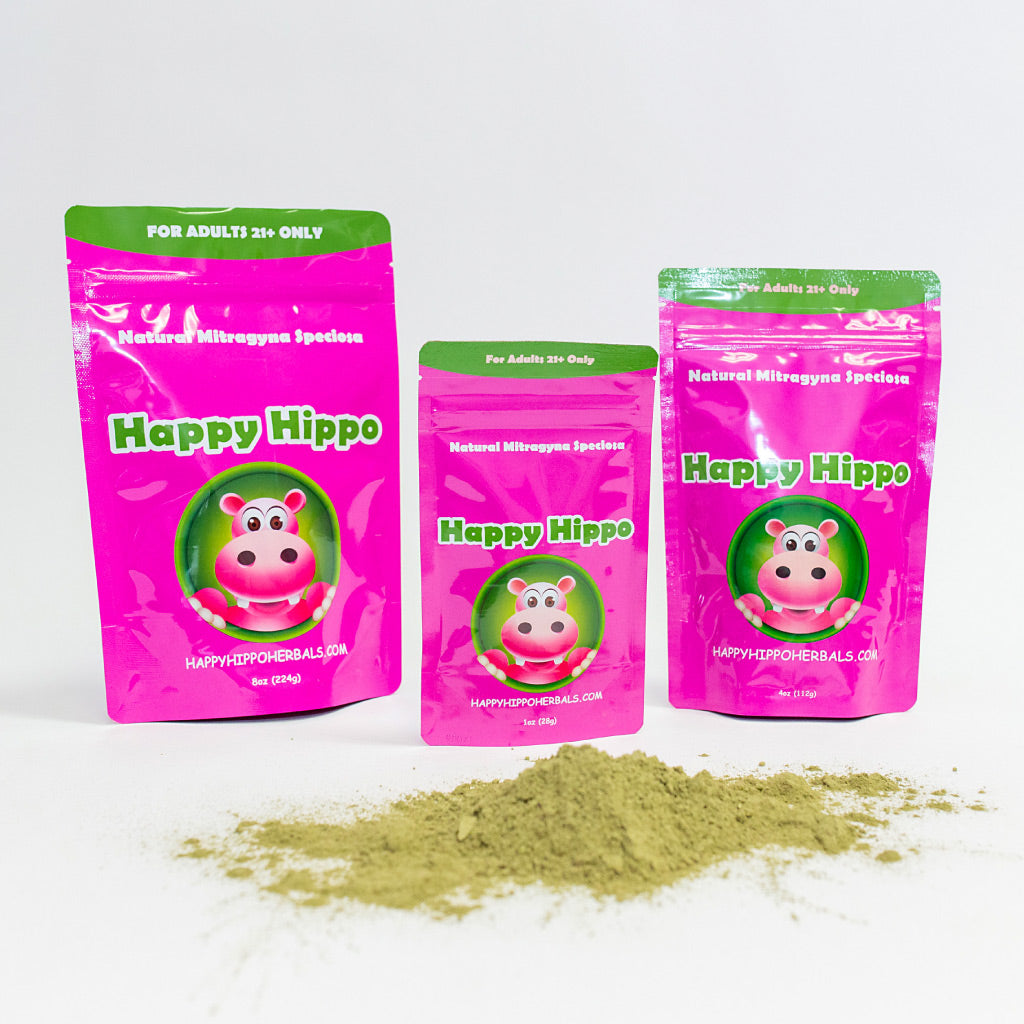 Photograhic image depicting three packages of Happy Hippo's best kratom powder