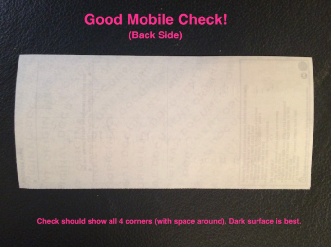 Infographic image depicting how to properly fill out the Back side of a mobile check for Happy Hippo Herbals