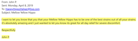 Screenshot indicating a quote from a customer review of the Happy Hippo Yellow Sunda kratom powder - indicating that the product is one of the best kratom strains and is very effective when used to relieve physical discomfort