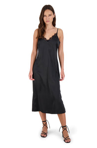 BB Dakota Sunset Slip Black Midi Dress