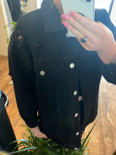 Load image into Gallery viewer, Peach Love Distressed Black Denim Jacket